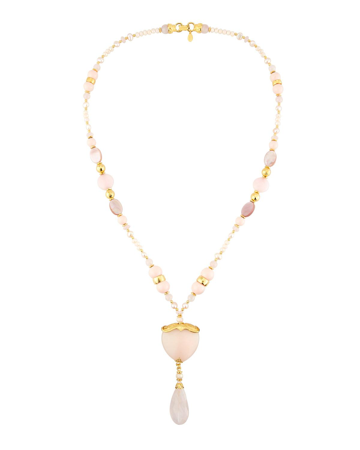 Jose & Maria Barrera Mixed Rose Quartz & Crystal Pavé Long Beaded Necklace 96kG9AN7MU