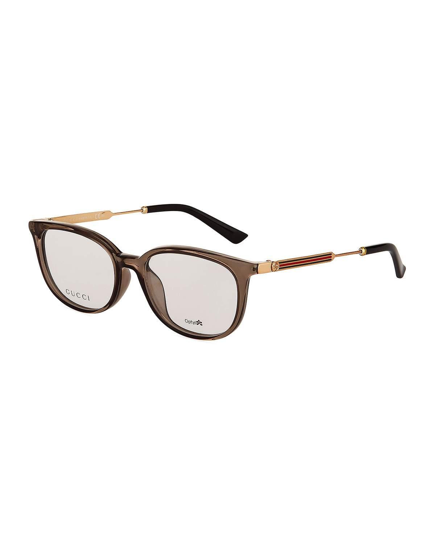 1329e07dda Lyst - Gucci Round Optyl® Acetate Optical Glasses in Gray