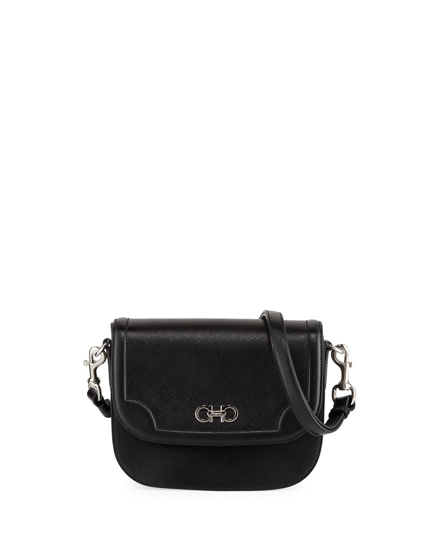 999ed305582f Lyst - Ferragamo Saffiano Leather Shoulder Bag in Black