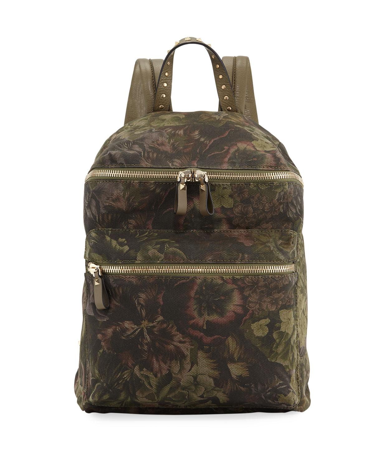 Valentino Floral-Pattern Canvas Backpack zv2COP