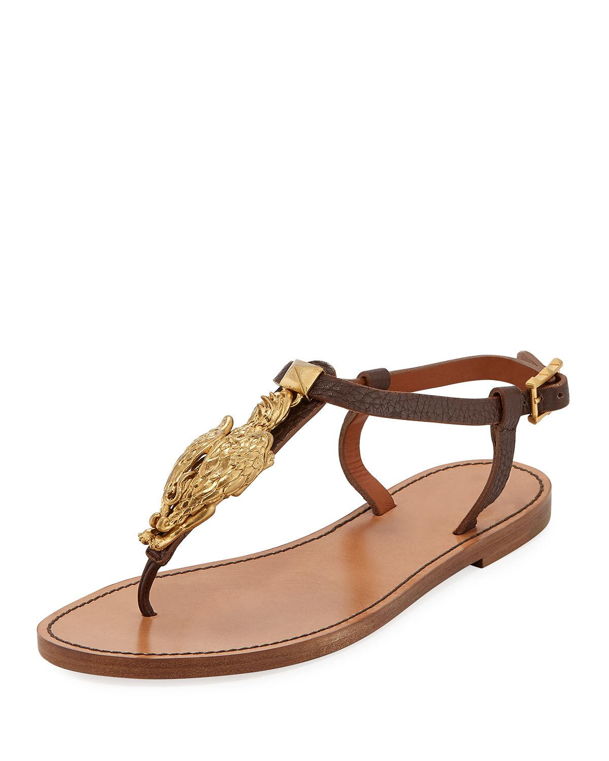 In Ornament Thong Leather Valentino Gryphon Flat Sandals With Brown wv8mnN0O