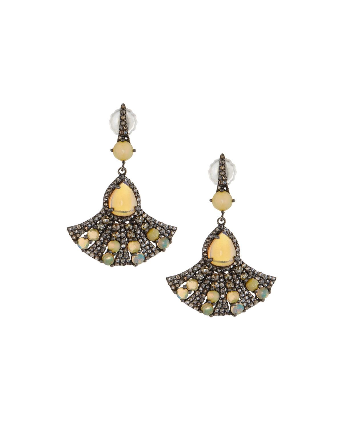 Bavna Diamond & Opal Fan Drop Earrings opOtfc