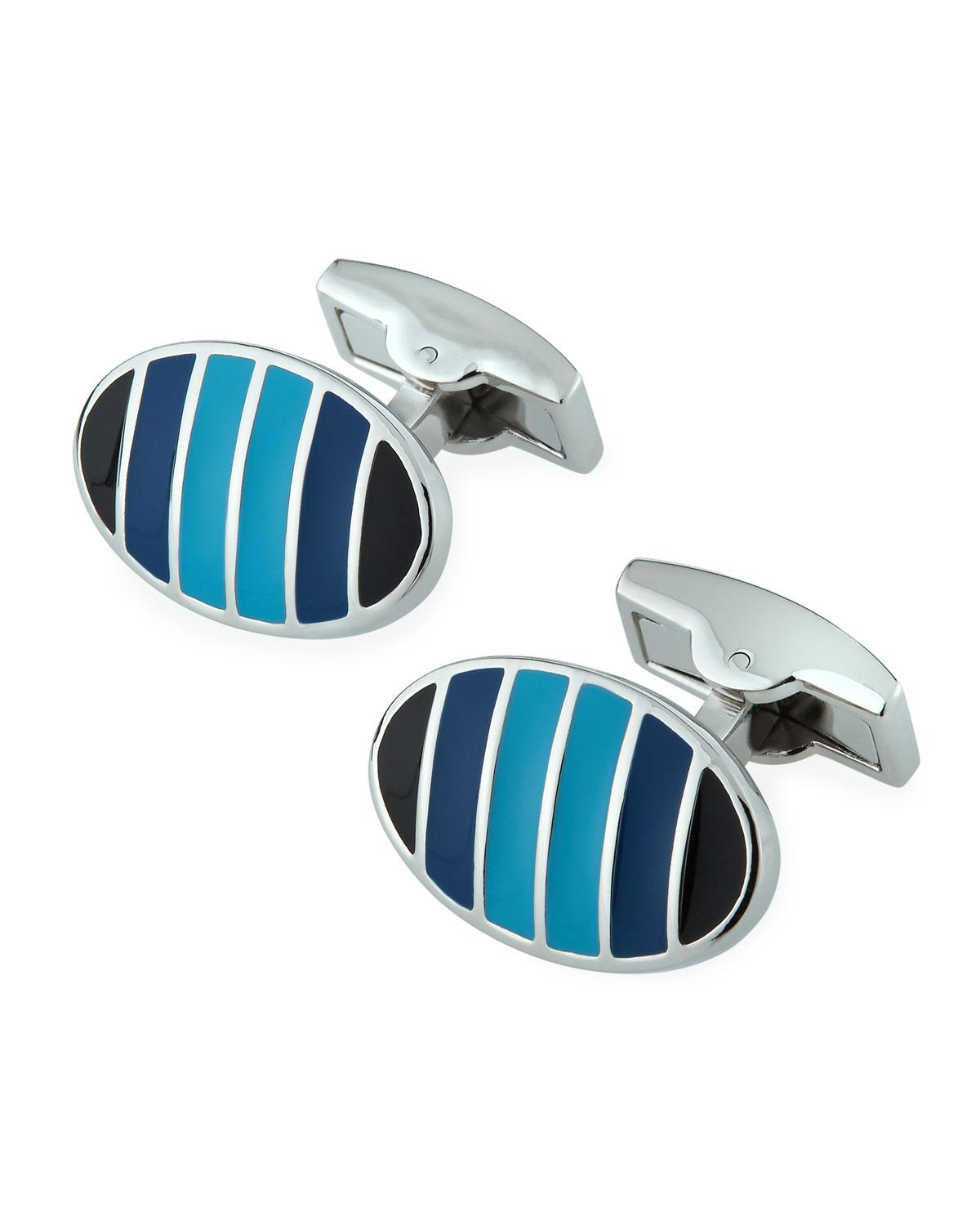 Bugatchi Striped Oval Cuff Links QBfguh