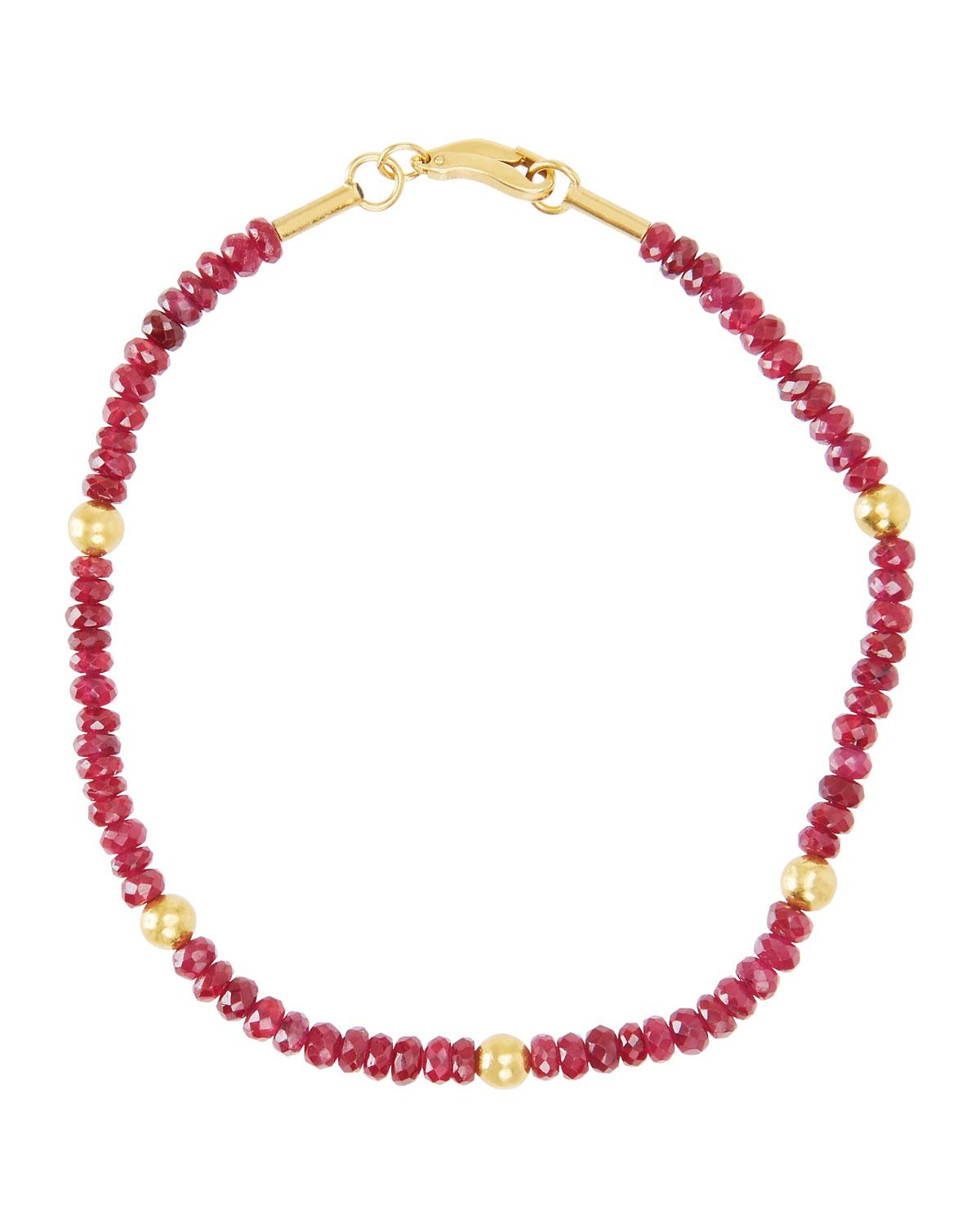 Gurhan Beaded Yellow Gold & Ruby Necklace R0KWPi0