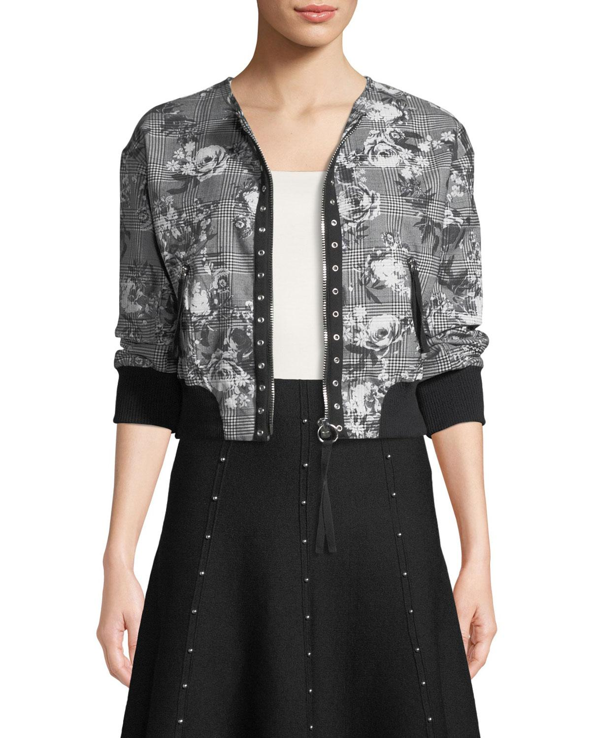 955ca0236a9cd RACHEL Rachel Roy Baldwin Floral/check Bomber Jacket in Gray - Lyst