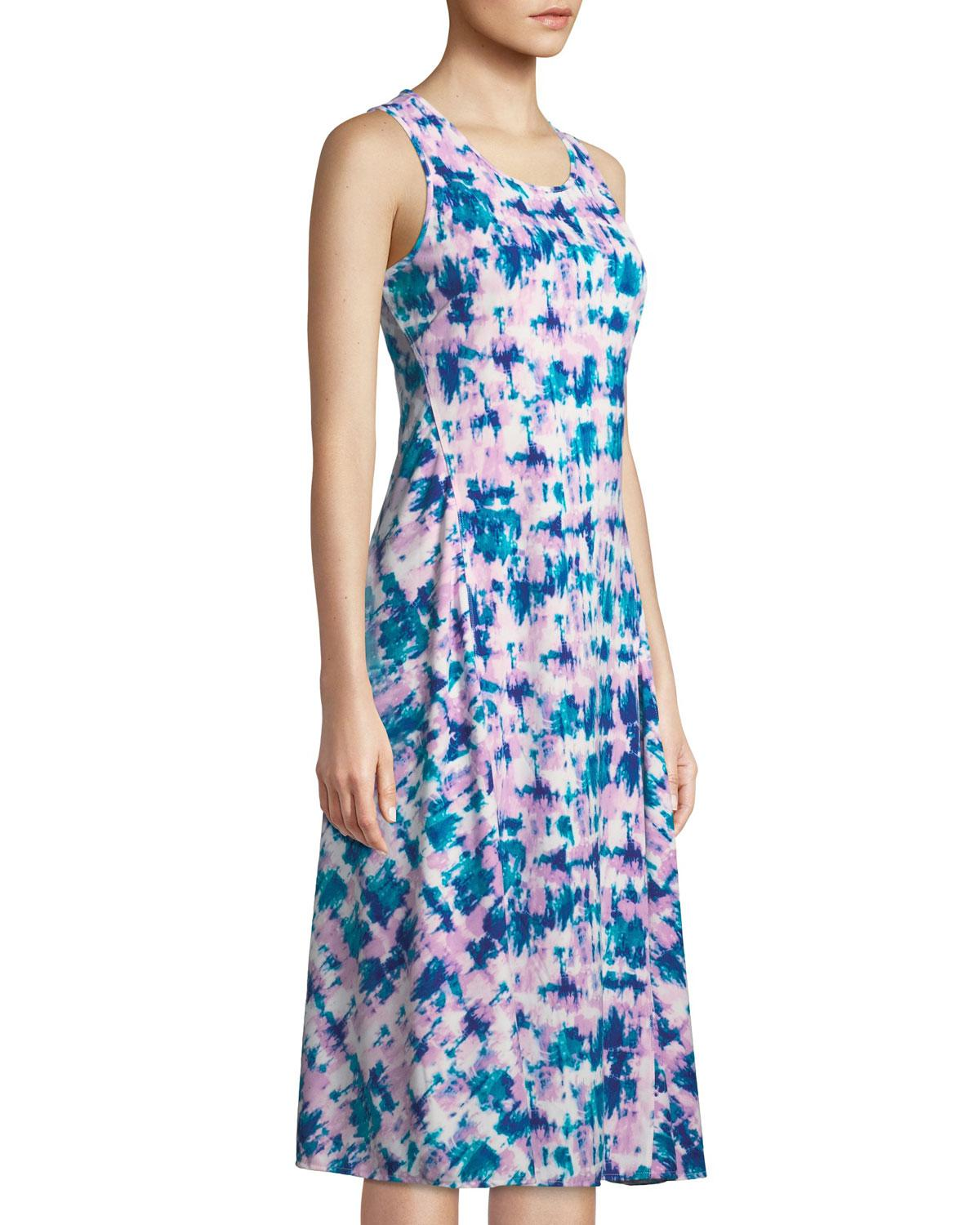 d2840f9310c Donna Karan Sleeveless Tie-dye Print Midi Dress in Blue - Lyst