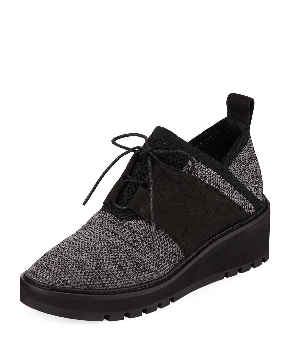b337f4d2ad43 Lyst - Eileen Fisher Wilson Lace-up Knit Wedge Walking Shoes in ...