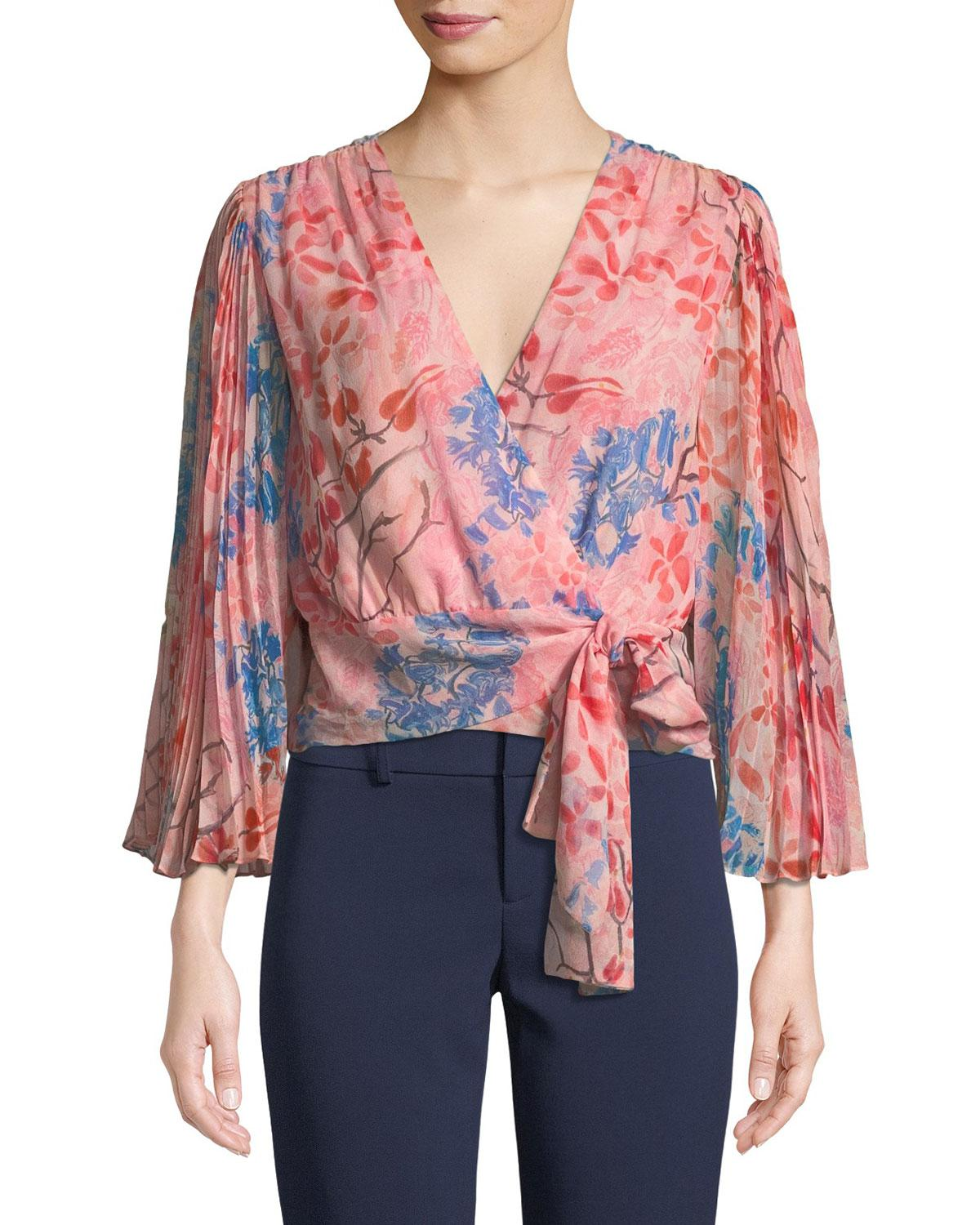 7672b98d420b91 Alice + Olivia Bray Pleated-sleeve Floral-print Silk Wrap Blouse in ...