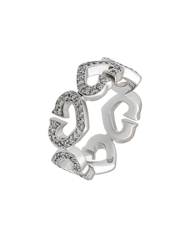9fbbc986b3a Cartier 18k Pave Diamond C-heart Ring in Metallic - Lyst