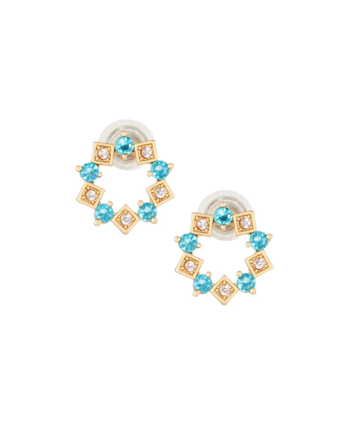 Fragments Crystal Hoop Stud Earrings, Turquoise