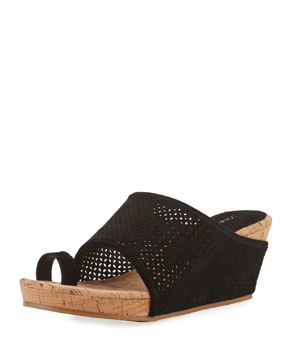 80c556a21d8 Lyst - Donald J Pliner Gent Perforated Suede Wedge Sandals in Black