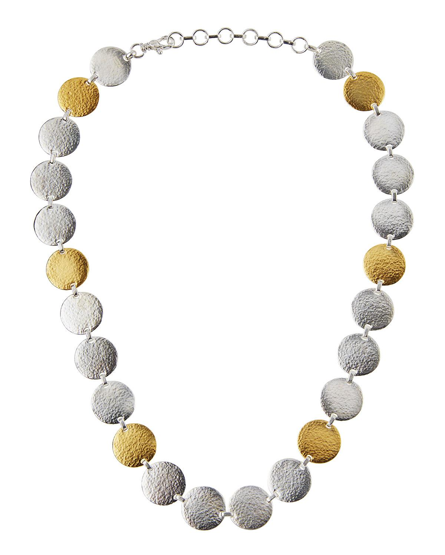 Gurhan Flake Silver & 24k Disc Necklace j4KWZ15