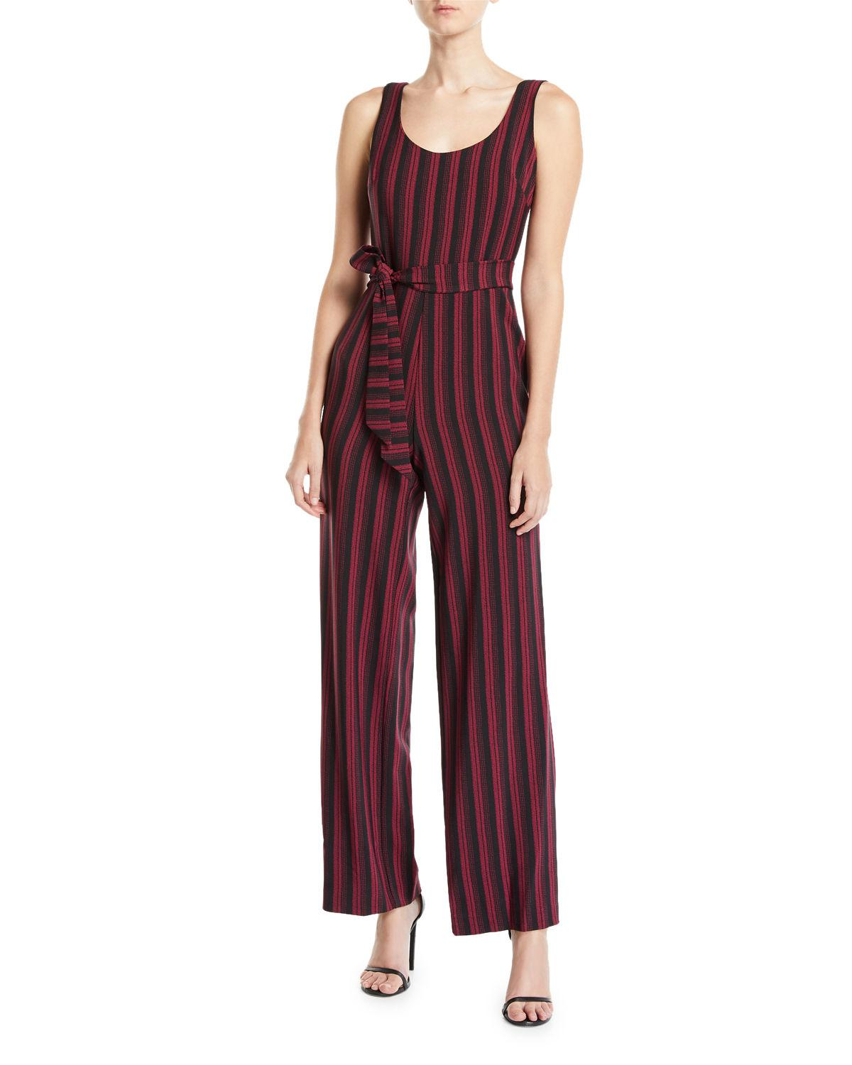 4b2c0f82d02a Lyst - Karl Lagerfeld Striped Belted Jumpsuit in Black - Save 34%