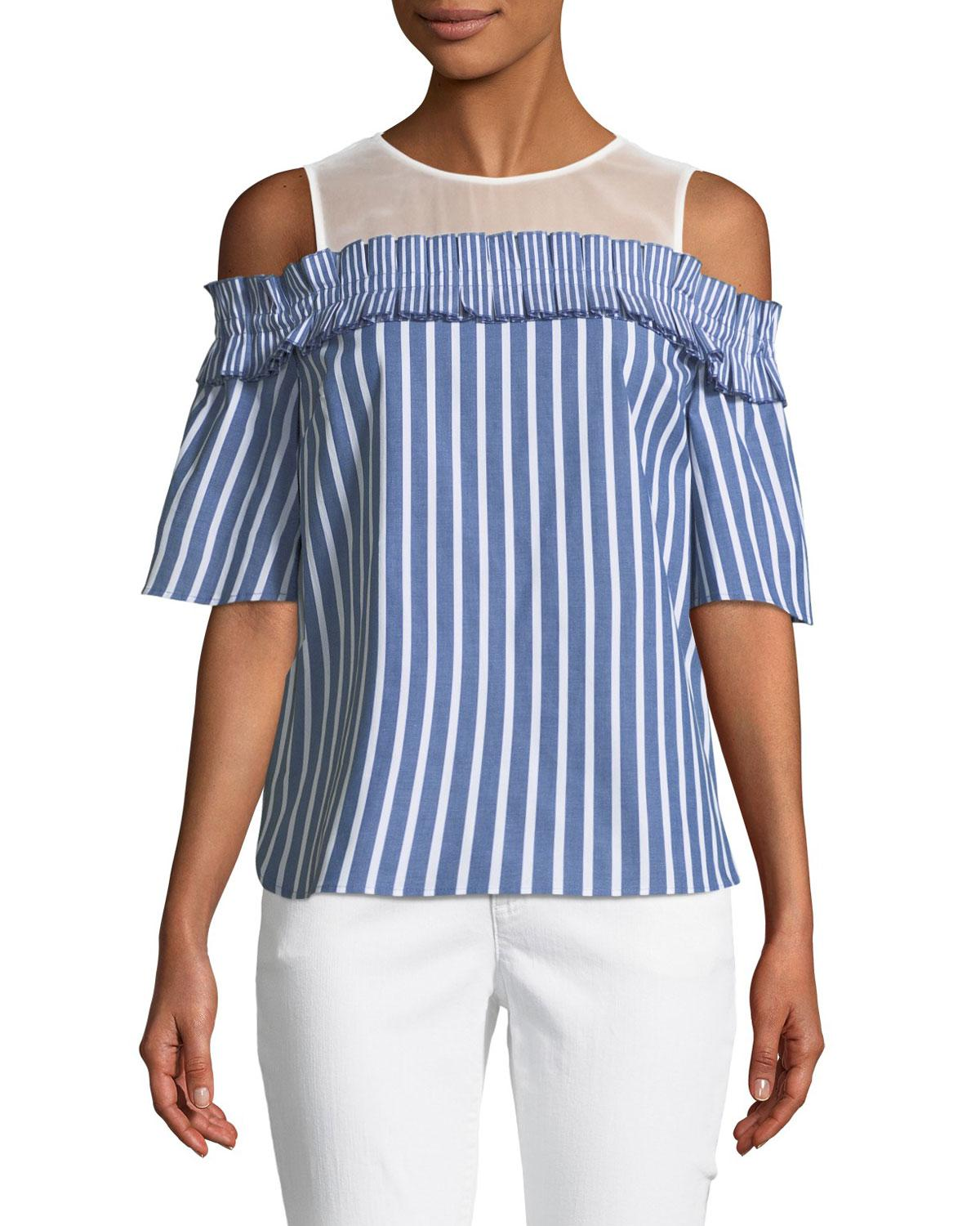 cbeaeb1effd Lyst - Cece by Cynthia Steffe Cold-shoulder Striped Blouse in Blue ...