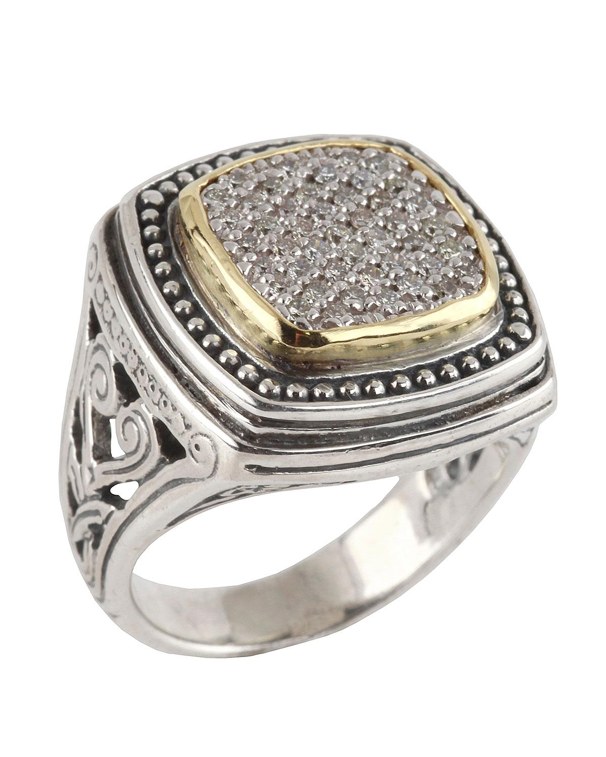 Konstantino Asteri Ornate Square Pave White Diamond Ring, Size 7