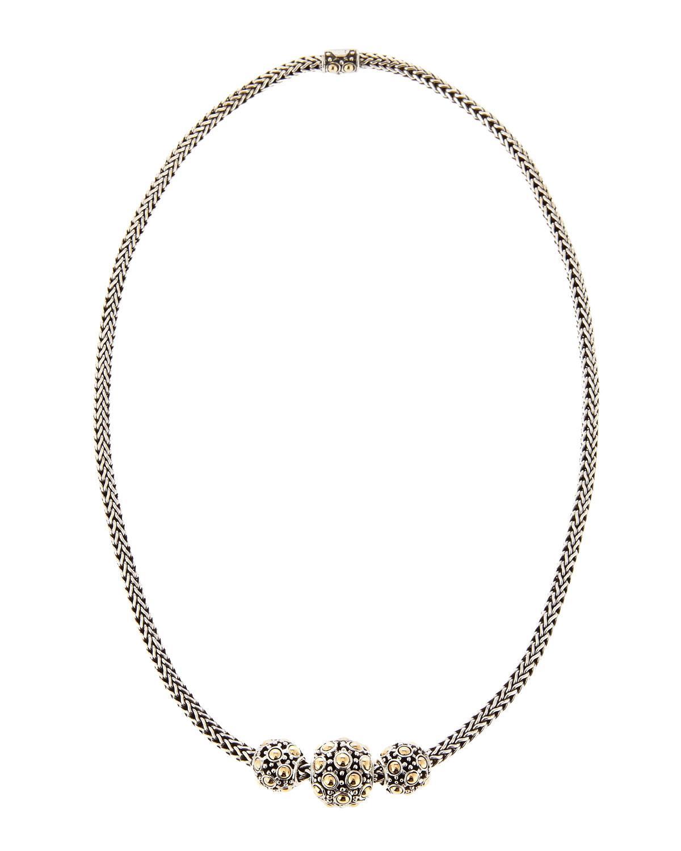 John Hardy Jaisalmer Gold-Silver Three-Bead Necklace LZ4RiTQIVR