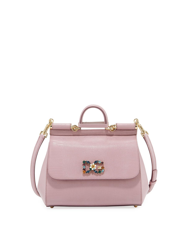 212efc56da Dolce   Gabbana. Women s Pink Miss Sicily Medium Stamped Leather Satchel Bag