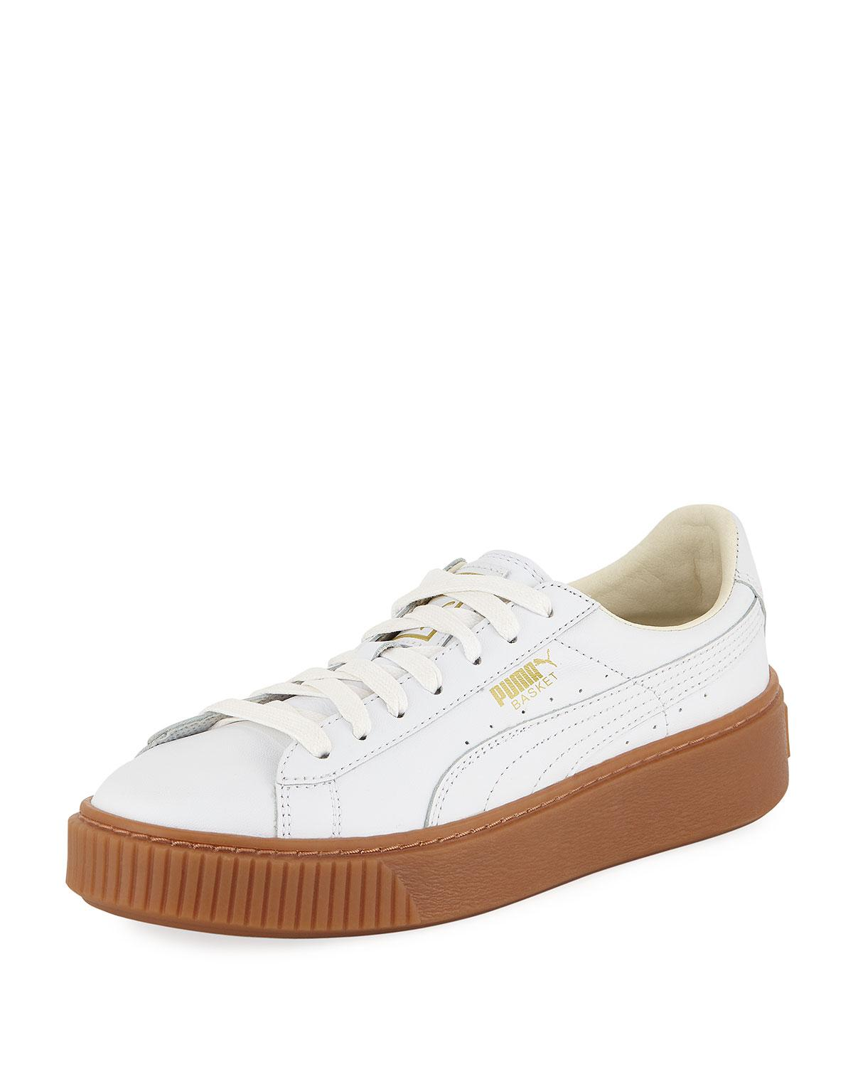 Lyst - PUMA Basket Leather Platform Sneakers in White b57414dc5