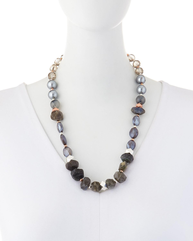 Nakamol Labradorite & Pearly Glass Necklace S6al80
