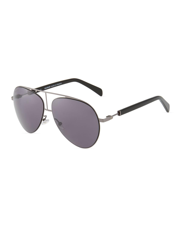 1ad36b8ef610 Lyst - Balmain Metal acetate Aviator Sunglasses in Gray