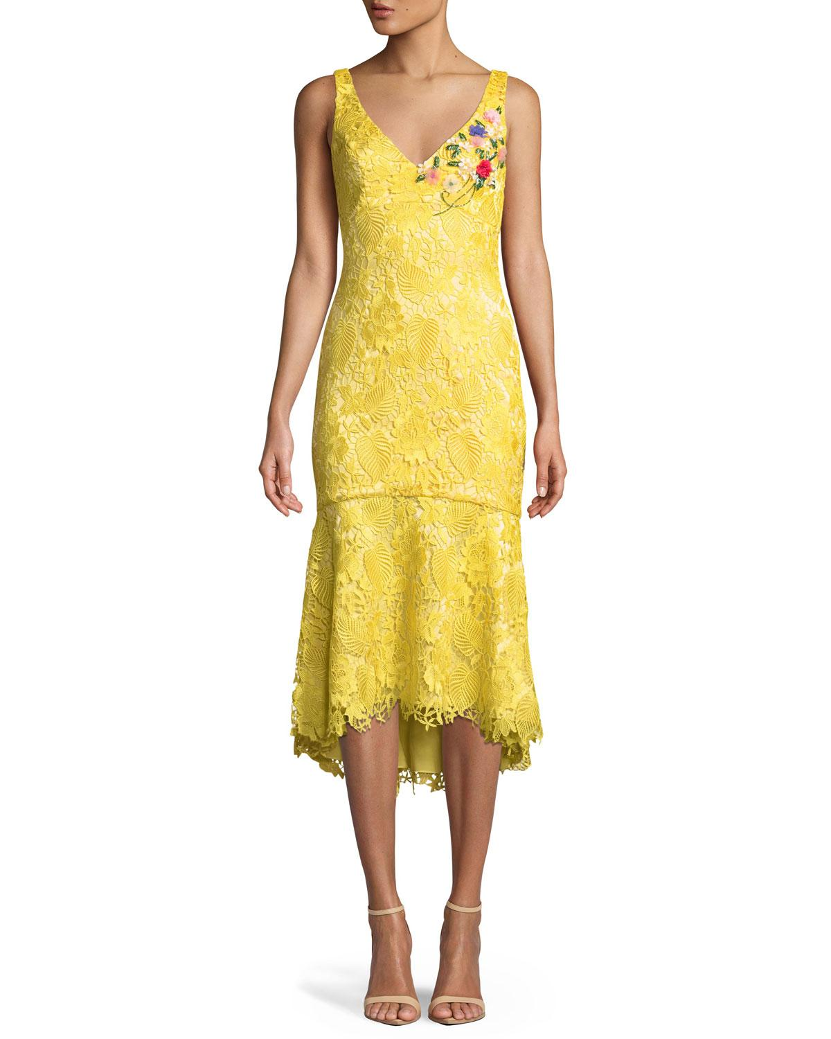 dc044ead31 Lyst - THEIA Lace V-neck Dress W  Floral Embroidery in Metallic ...