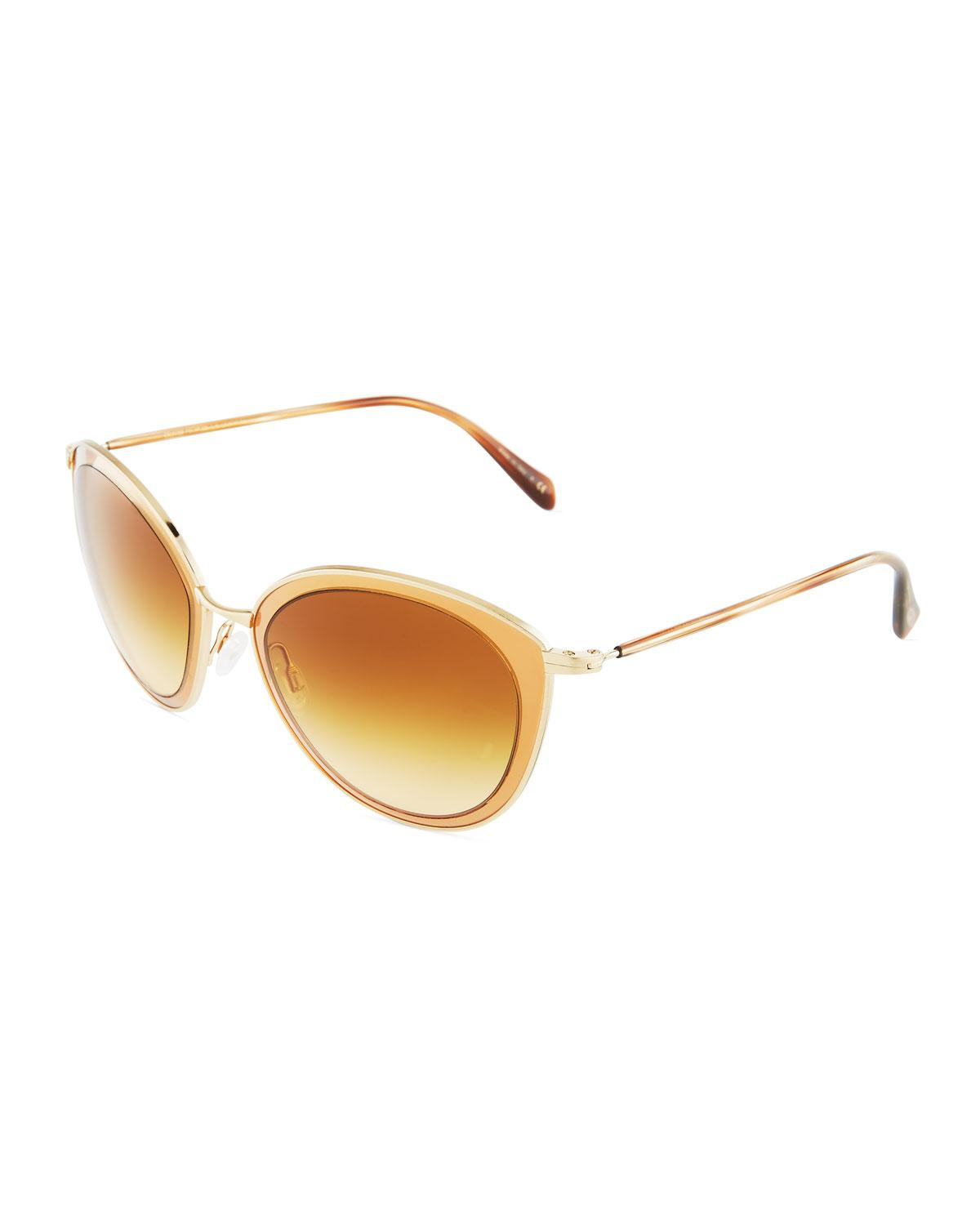 a285cdf514e Lyst - Oliver Peoples Gwynne 62 Round Flash Metal Sunglasses in Metallic