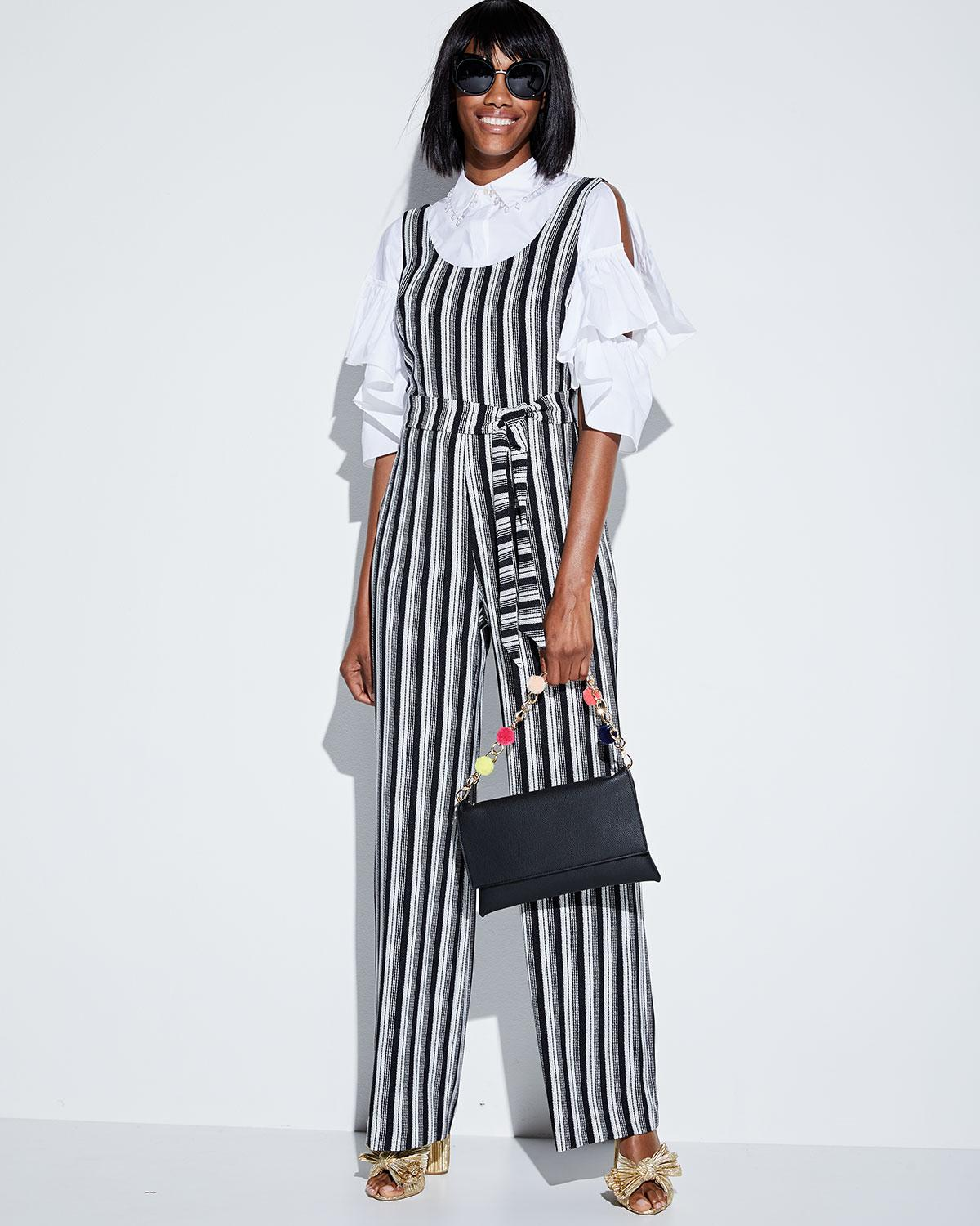 76d20219dc4 Lyst - Karl Lagerfeld Striped Belted Jumpsuit in Black - Save 34%