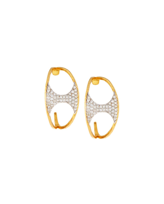 Gurhan 22k Tuxedo Pavé Half Hoop Earrings jp4ph