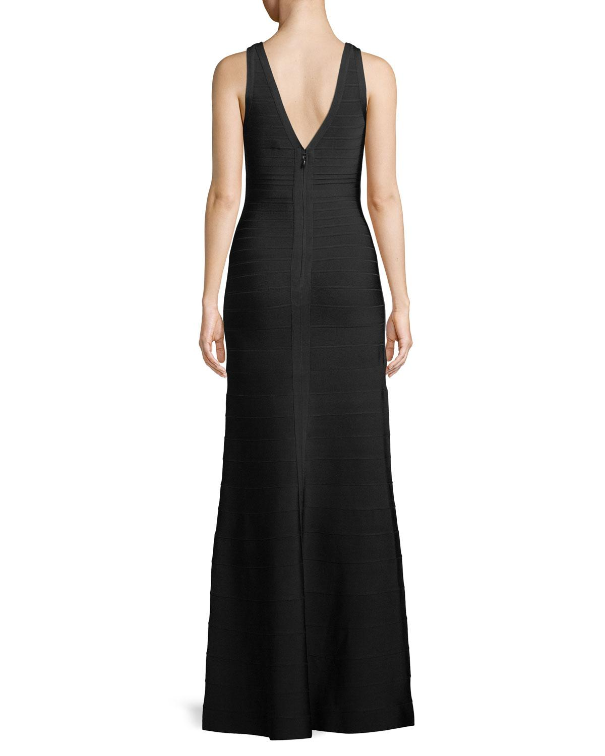 e08a5d967f Lyst - Hervé Léger Sianna Crisscross Neck Bandage-knit Evening Gown in Black