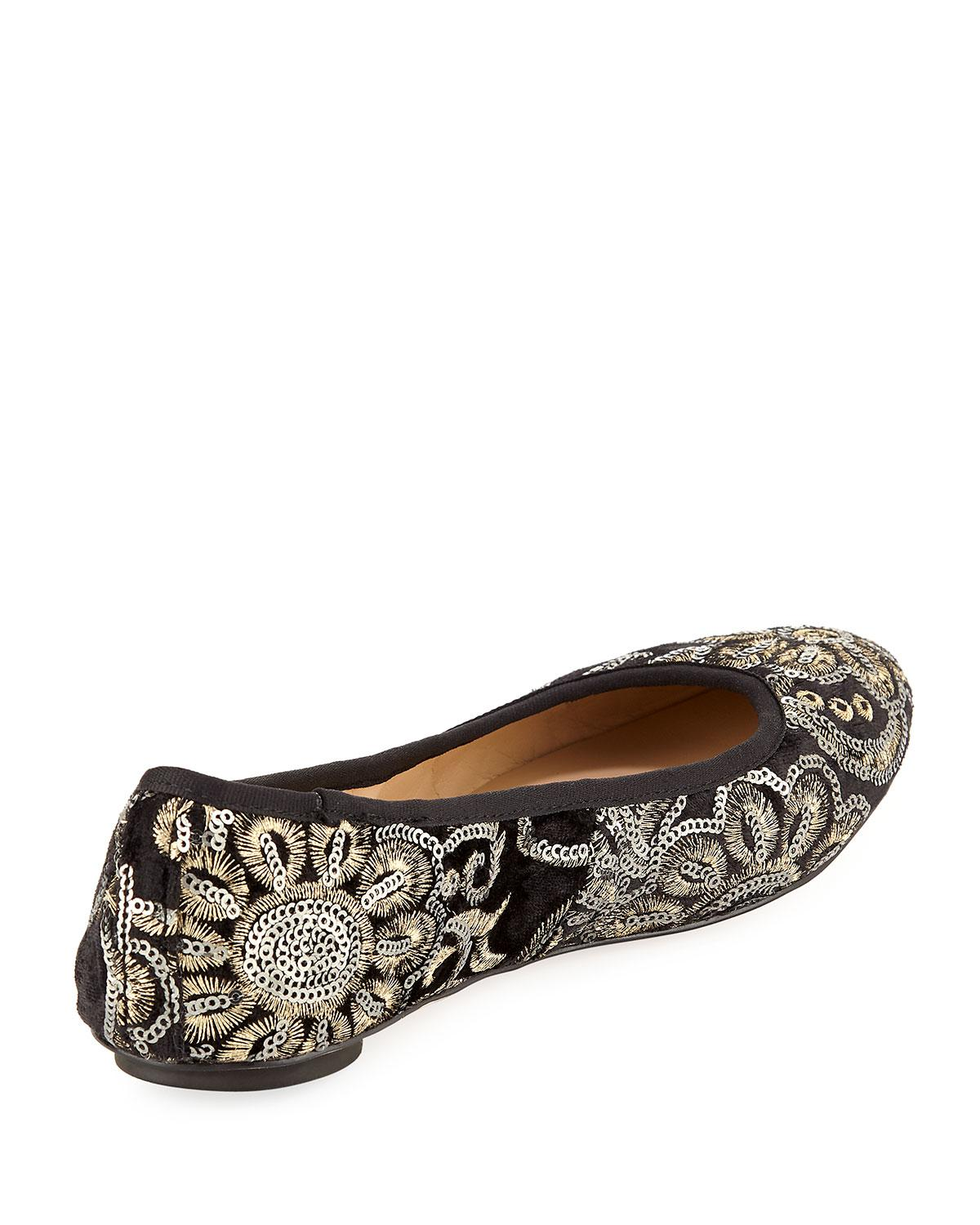 b095d91fa357 Lyst - Karl Lagerfeld Leroux Sequined Ballerina Flat in Black