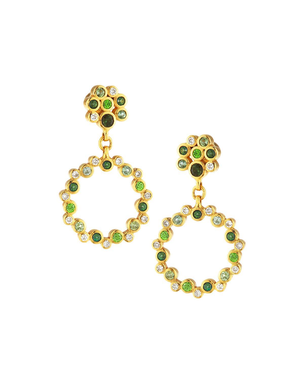 Gurhan Pointelle Open Green Stone Drop Earrings y5AFG