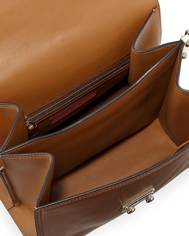 20c3d13522 Valentino Cabana Medium Rockstud Top-handle Satchel Bag in Brown - Lyst