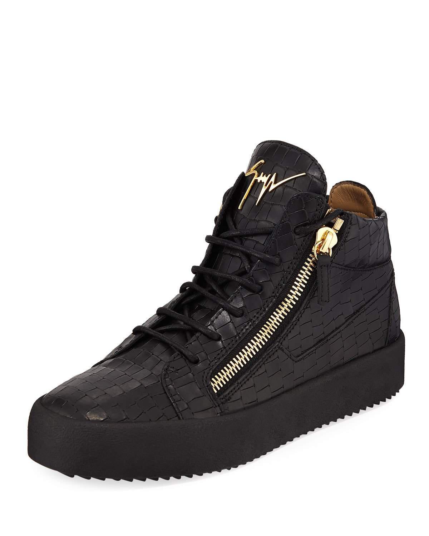 6572c5e8da Lyst - Giuseppe Zanotti Men s Embossed Leather Mid-top Sneakers in ...