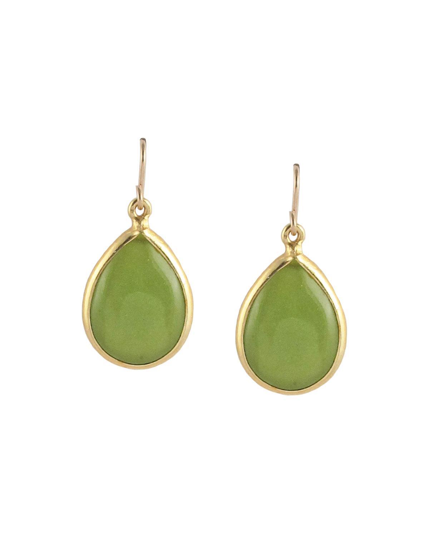 Devon Leigh Green Jade Pear Drop Earrings kABQqS