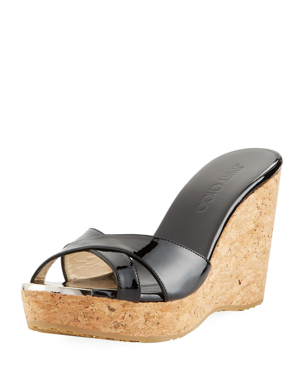 e3d5ac735d5b Lyst - Jimmy Choo Pandora Patent Cork Wedge Sandal in Black