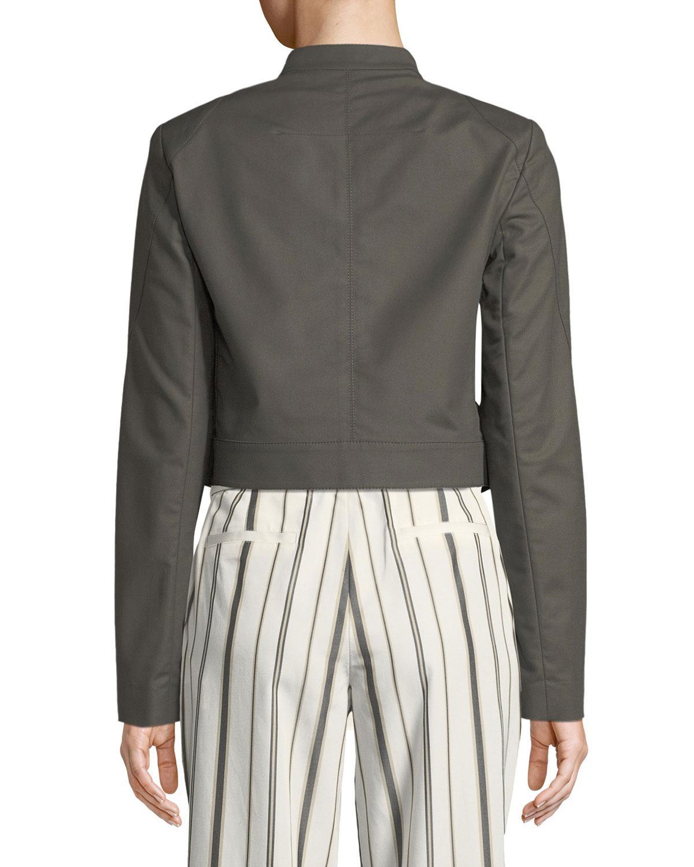 529cf8e703c8a Lyst - Lafayette 148 New York Lisette Cotton Motor Jacket in Gray