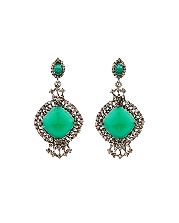 Bavna Green Onyx & Diamond Dangle Earrings mV2nLfRF