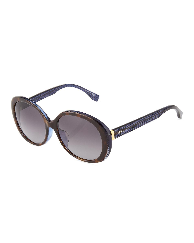 0f73ac115c Lyst - Fendi Modified Round Plastic Sunglasses in Brown