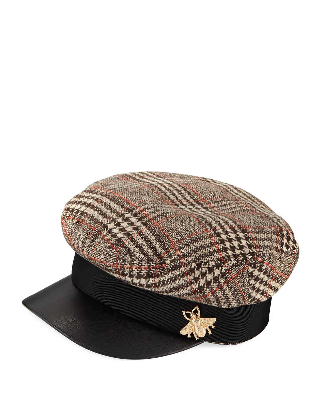 83742398692 San Diego Hat Company. Men s Brown Herringbone Fisherman Cap W  Faux Leather  Brim