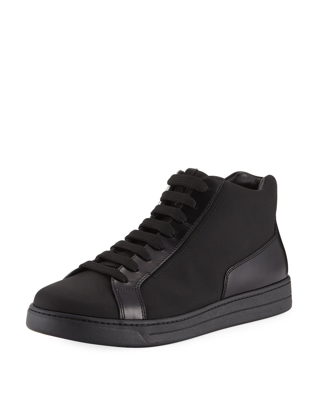 3780dfd6b068f Lyst - Prada Men s Leather Zip-side High-top Sneakers in Black for Men