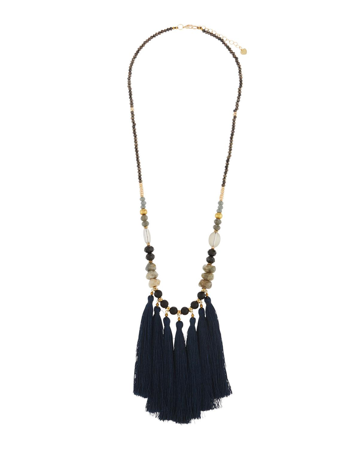 Nakamol Mixed Feather Wrap Necklace WhRFCYwK