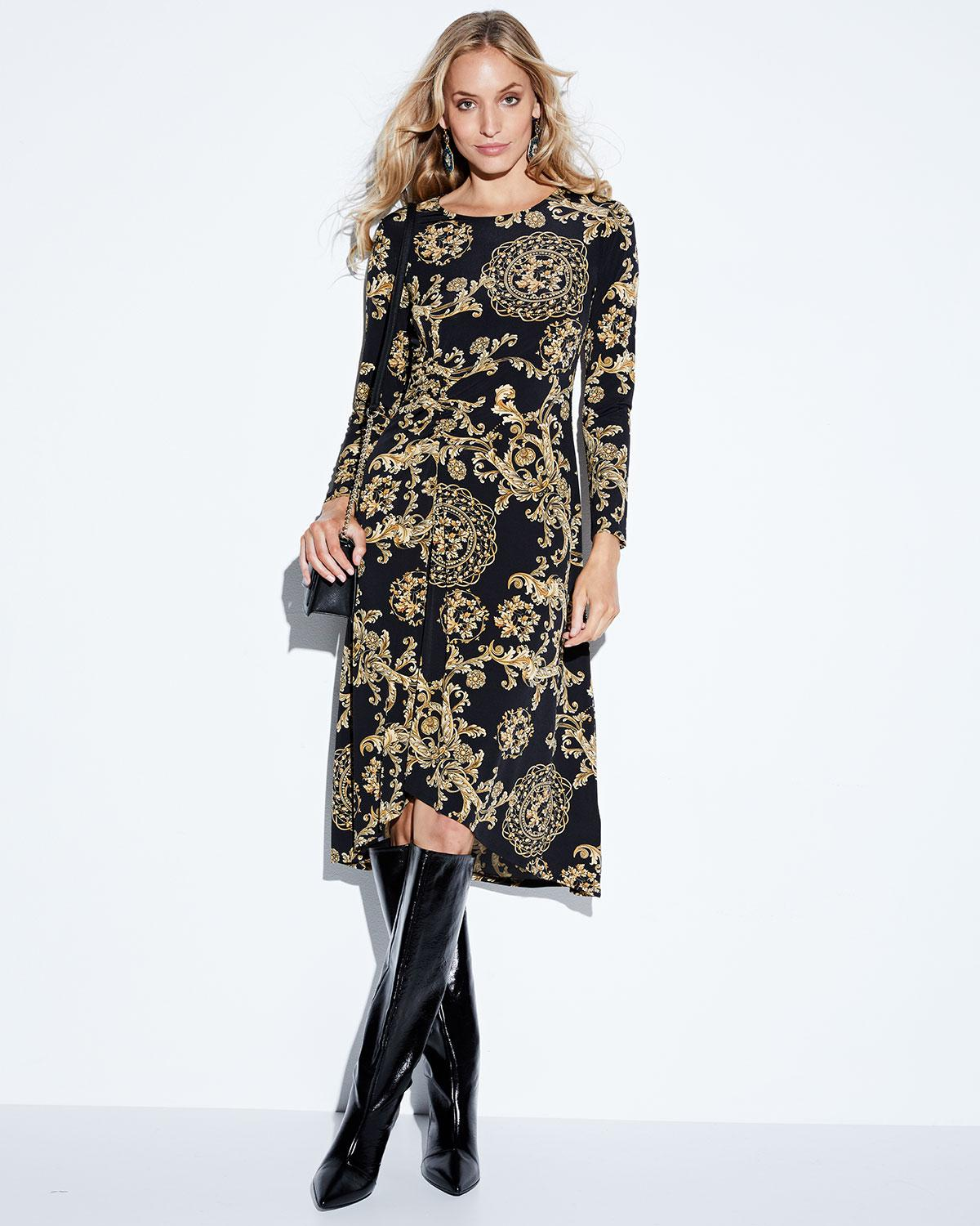 4ec8b64466e Donna Morgan Long-sleeve Ruched Floral-print Jersey Shift Dress in ...