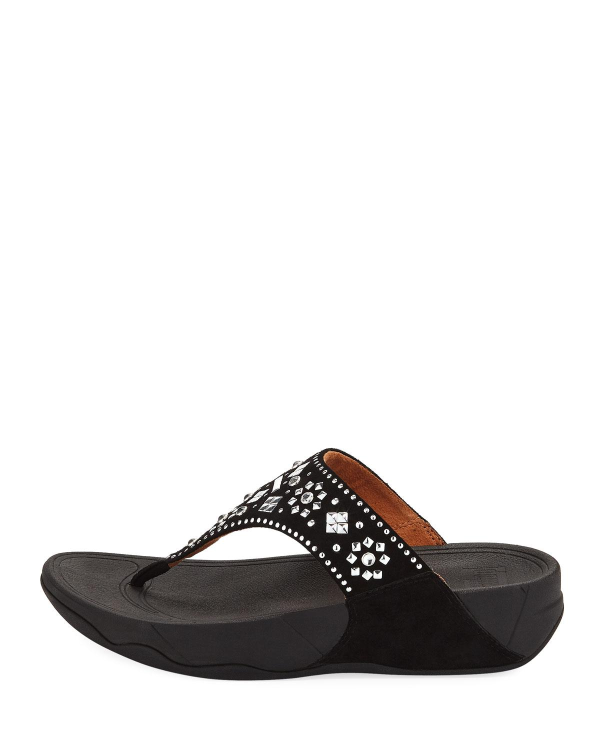 f8584a97b78a Lyst - Fitflop Lulu Aztek Stud Toe-thong Sandals-suede in Black - Save 63%