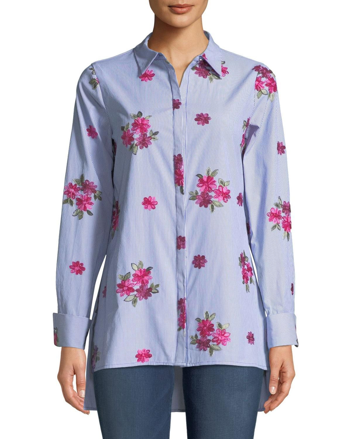 Buy Cheap Original Floral-Embroidered High-Low Button Front Tunic Neiman Marcus Cheap Discount Sale Clearance Ebay Sale Pay With Visa Discount Browse yggxJPhQW