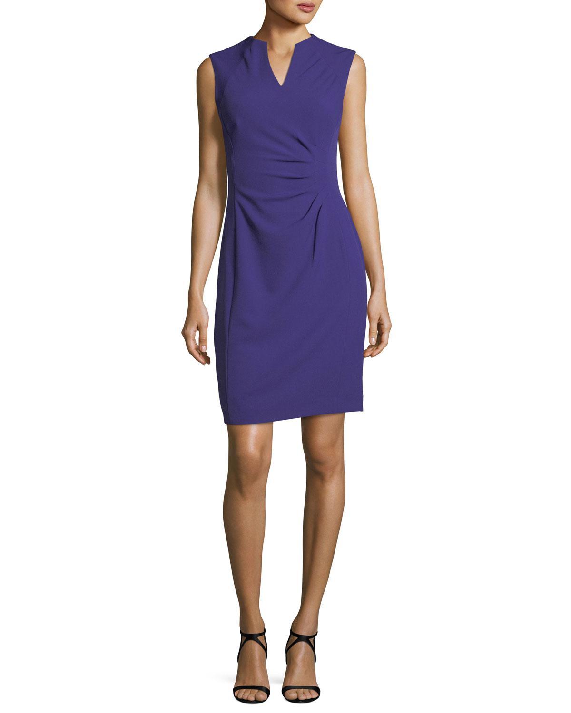ab107d4d631b Lyst - Tahari Split-neck Side-ruched Dress in Blue
