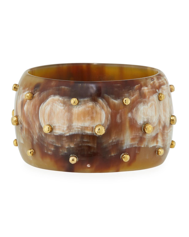 b9319c26f2a Lyst - Ashley Pittman Anga Wide Studded Light Horn Bangle in Brown