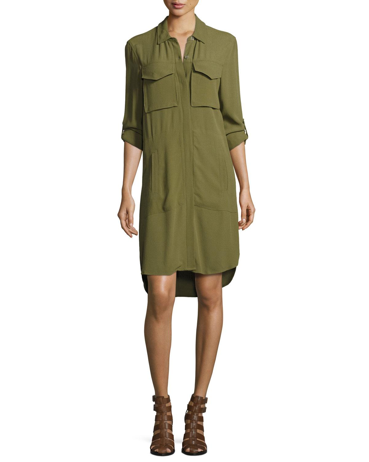 2d109822f0 Lyst - 1.STATE Patch-pocket Shirtdress in Green