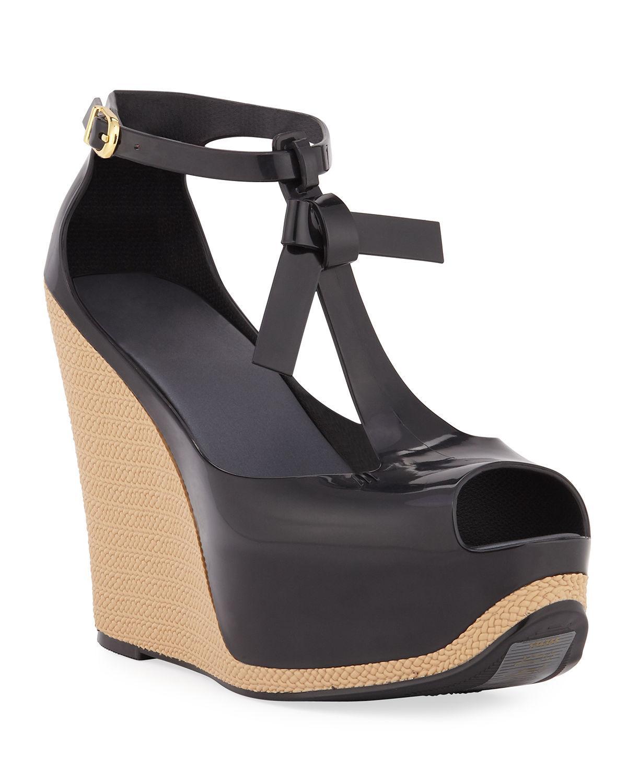 2413977362f Women's Black Peace Pvc Platform Wedge Sandals