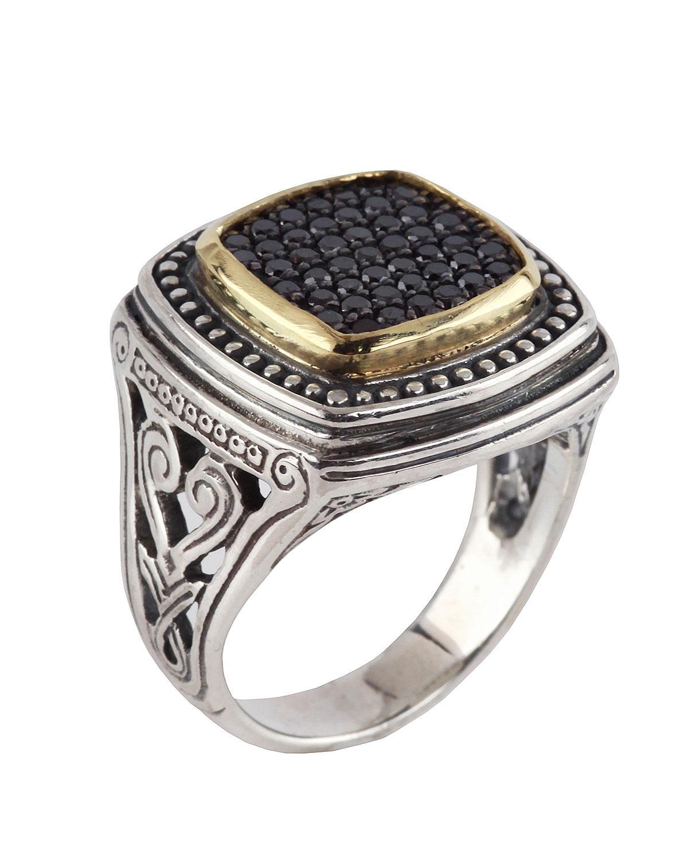 Konstantino Asteri Ornate Square Pave Black Diamond Ring, Size 8
