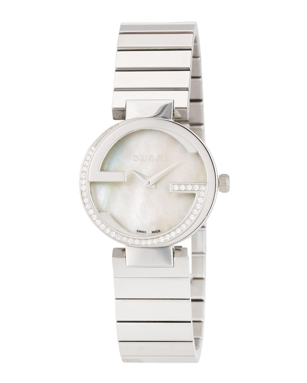 8fb29de8b54 Lyst - Gucci Small Interlocking Stainless Steel Diamond Bracelet Watch